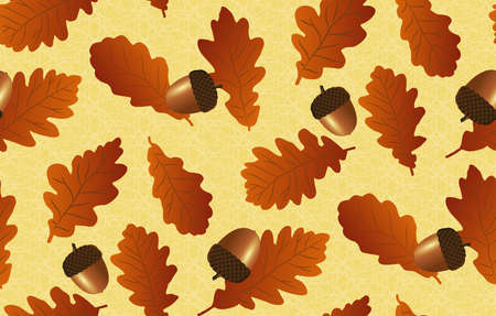 Seamless background with oak leaves and acorns Vector
