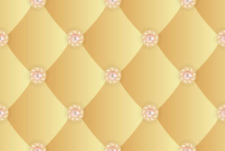 luxurious seamless wallpaper: Seamless background with yellow upholstery_2 Illustration