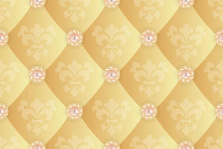 Seamless background with Fleur de lis on a yellow  Vector