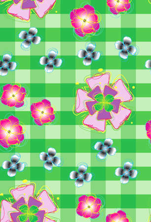 Seamless background with stylized flowers_2 Vector