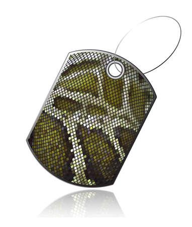 a snake in a bag: Tag of snake skin Illustration