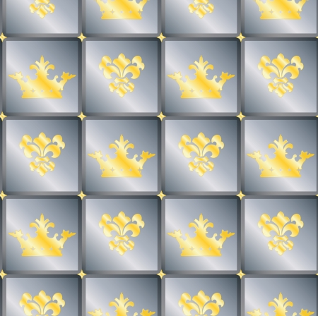 genteel: Seamless background with crowns and Fleur de lis