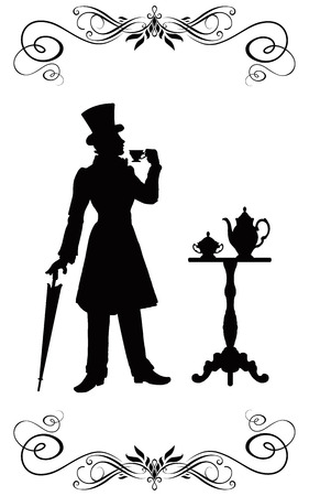 The man in clothes of XIX century with an umbrella and in the cylinder costs at a restaurant little table and holds in a hand a cup of coffee. Stock Photo