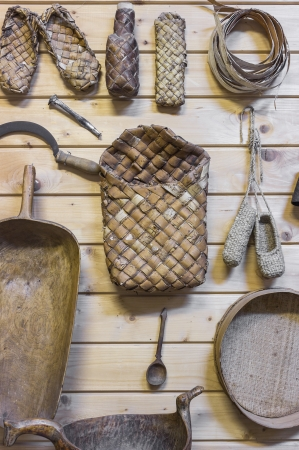 Objects peasant way of life. Fragment of the exposition museum. Stock Photo