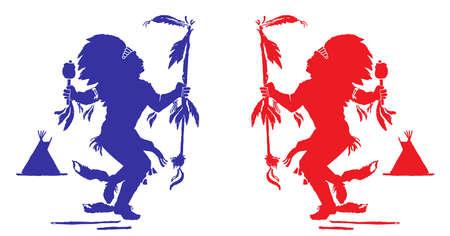 traditional dance: Due indiani eseguono una danza tradizionale per celebrare pow North American Indian wow. Blu e rosso colori rappresentano le stagioni (inverno ed estate). Vettoriali
