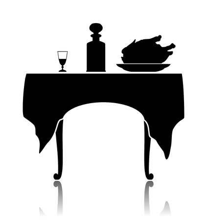 Silhouette of a restaurant little table with the laid cloth, a wine-glass, a shtof and a dish with a roast chicken. Vector