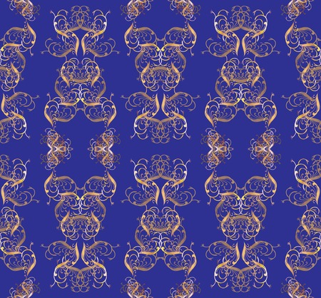 Magnificent golden pattern on a dark blue background. Elements are located in chessboard order. photo