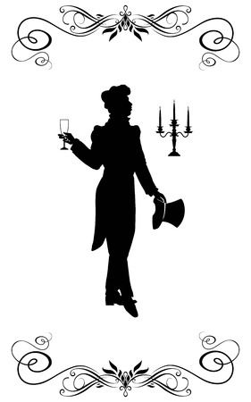 candelabrum: The man in clothes of XIX century goes and has control over an empty glass and the cylinder. On a background - a candelabrum.