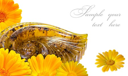 Natural handmade soap with calendula, in a beautiful abstract form. photo