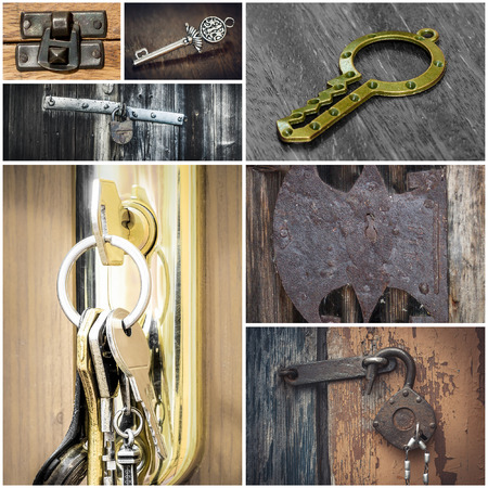 Collage with locks and keys photo