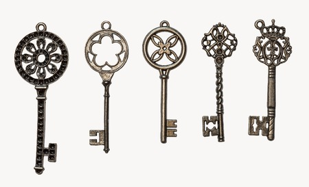 keys isolated: A set of five decorative keys. Isolated on white.