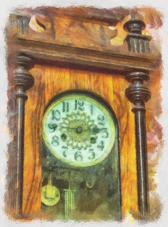 19th: Watercolor painting with antique clocks, 19th century. Stock Photo