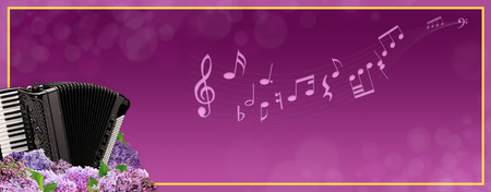 pompous: Musical banner with an accordion in purple tones. Stock Photo