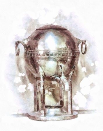 Watercolor painting with an old shiny samovar.