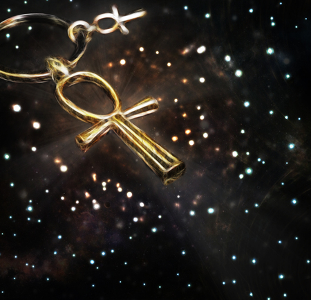 ankh cross: Stylized Egyptian ankh cross on a space background with stars and nebula.