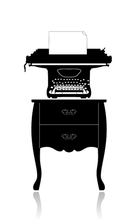 old typewriter: The old typewriter with a blank sheet of paper on a small table.