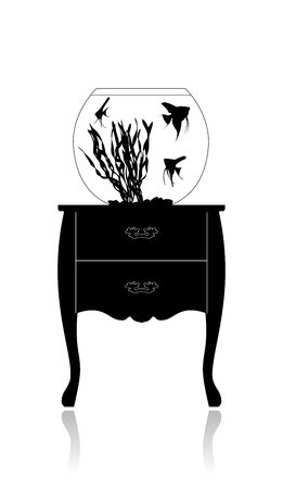 Round aquarium with small fishes, scalare, standing on an antiquarian small table.