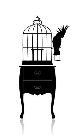 lockup: Silhouette of a large round birdcage, standing on the coffee table. Cockatoo sits on the door Illustration