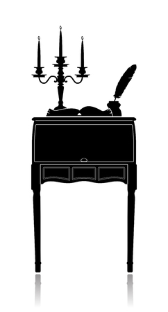 disclosure: Silhouette of a Vintage secretaire with a candelabrum, inkwell and an open book.