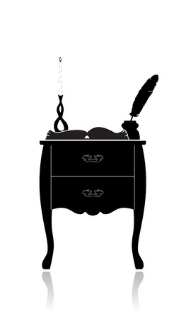 Silhouette of a Vintage chest of drawers with candlestick, an open book and an inkwell.