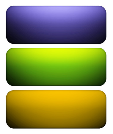 Purple, green and vivid yellow glass buttons