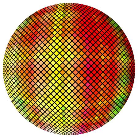 Yellow-orange mosaic ball, isolated on a white background. Illustration