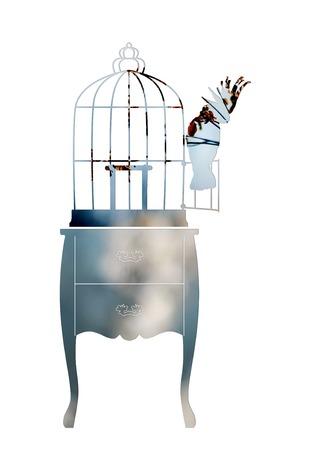 confinement: Double exposure. Birdcage and parrot