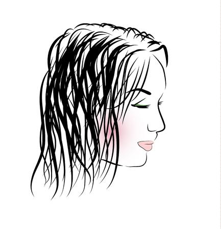 long eyelashes: Romantic girl with long hair