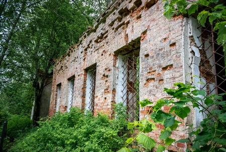 hazel branches: Wall with windows of the ruined Church of St. Nicholas the Wonderworker Stock Photo