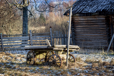 Old wooden cart stands