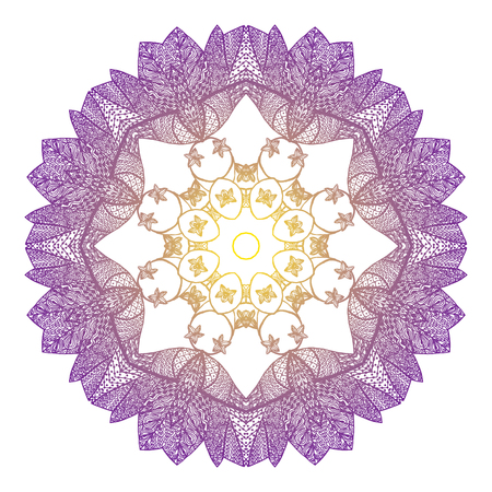 scrollwork: Eight-pointed mandala in the style zentangl Illustration