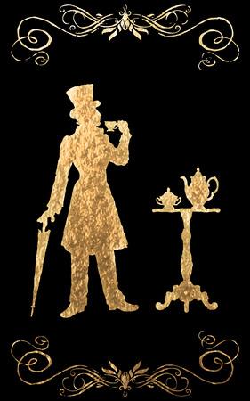 XIX century. Gold foil Illustration