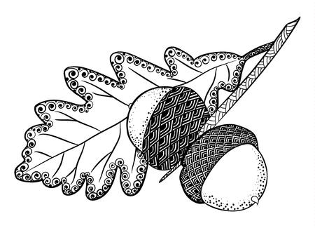 Stylized acorns and oak leaf Stock Illustratie