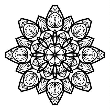 Flower Mandala. Vintage decorative elements. Oriental pattern, vector illustration. Coloring book page. Islam, Arabic, Indian, moroccan spain turkish mystic ottoman motifs Illustration