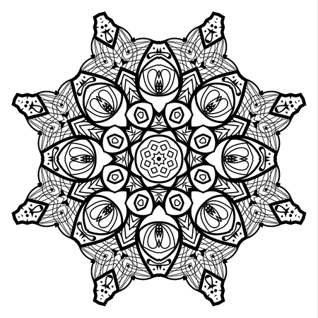 Flower Mandala. Vintage decorative elements. Oriental pattern, vector illustration. Coloring book page. Islam, Arabic, Indian, moroccan spain turkish mystic ottoman motifs Stock Photo