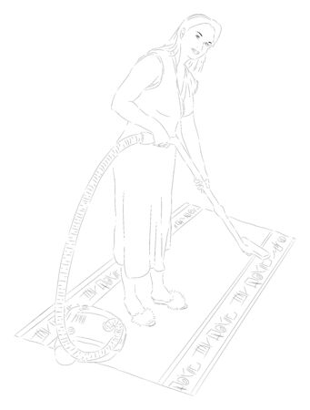 Housewife with a vacuum cleaner Illustration