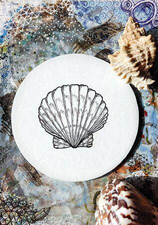 Photo with seashell Фото со стока