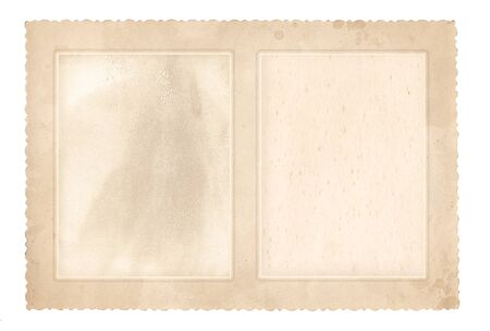 Old photo frame for two photos. Vintage paper. Retro card. Isolated on white