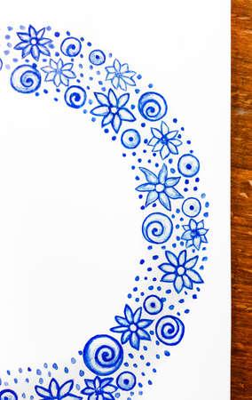 Watercolor doodle. Blue ribbon Stock fotó