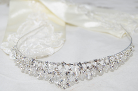 Tiara on white silk