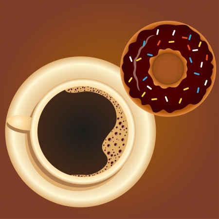 Coffee with Donut Vector