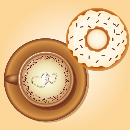 Coffee with Donut Stock Vector - 21852580