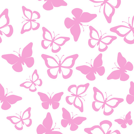 Pink butterflies on a white background, seamless - vector Vector