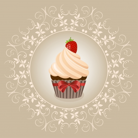 Cupcake on ventazhnom background - vector Vector
