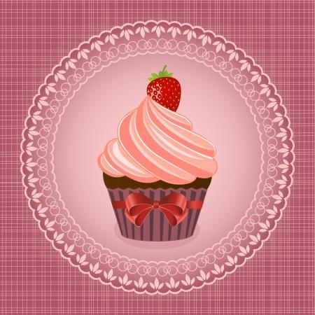 Cupcake on ventazhnom background - vector