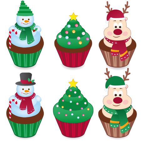caramelos navidad: conjunto de seis pasteles de Navidad. vector