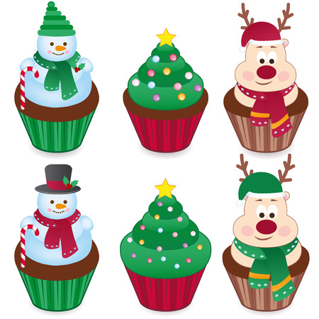 cupcakes isolated: set of six Christmas cakes. vector