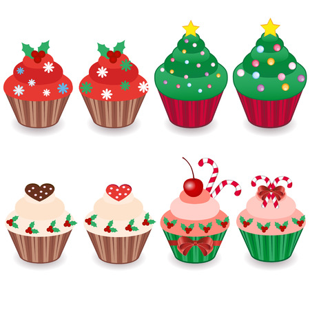 christmas food: set of six Christmas cakes. vector