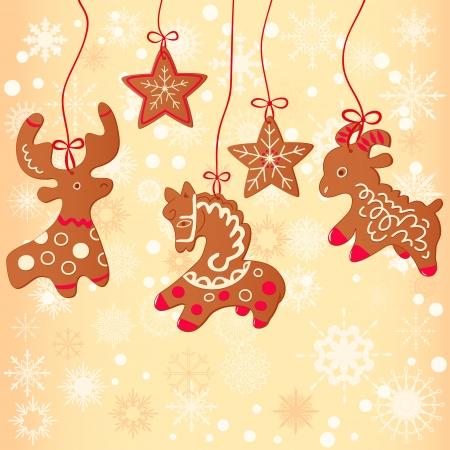 Merry Christmas greeting card design.Christmas cookie Vector