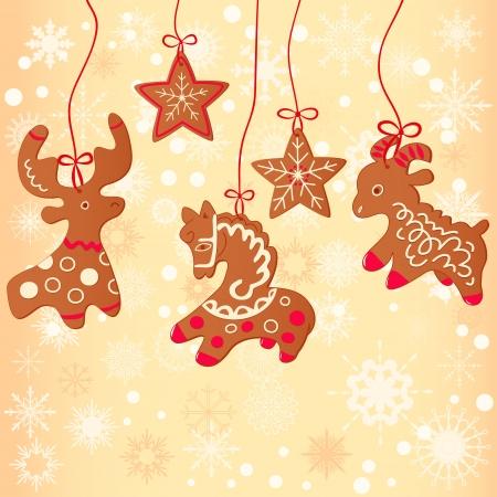 christmas cookie: Merry Christmas greeting card design.Christmas cookie